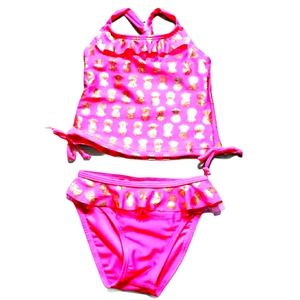 Real Love Baby Swimsuit Neon Pink Gold Pineapples